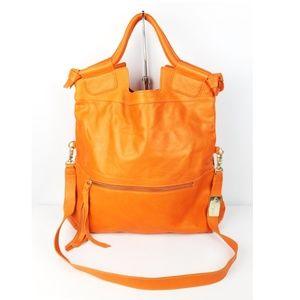 Foley + Corinna Orange Leather Mid City Tote Bag
